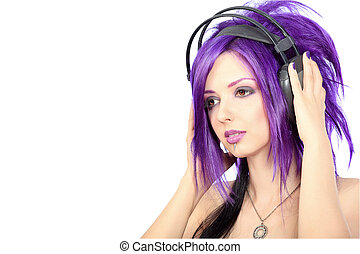 listen music - Portrait of a punk girl in headphones....