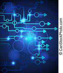 Technological blue background.Vector illustration with...