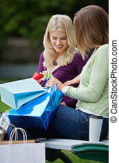 Women Looking Into Shopping Bags