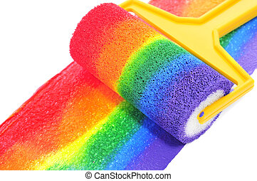 rainbow - a rainbow painted with a paint roller on a white...