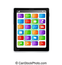 Tablet PC with media icons on display