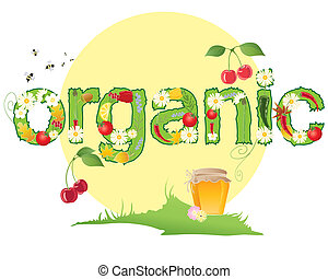 organic - an illustration of the word organic decorated with...
