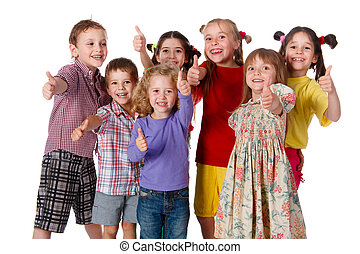 Group of children with thumbs up sign - Group of happy...