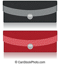 black and red purse made of leather vector illustration...