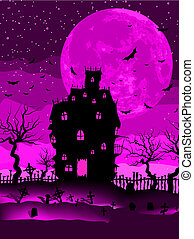 Scary halloween vector with magical abbey. EPS 8 vector file...