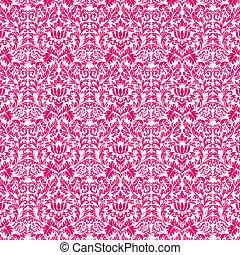 rosa,  &, Damast,  seamless, varm, vit