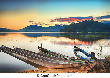Lak Lake - Panorama of a Lak lake at sunrise