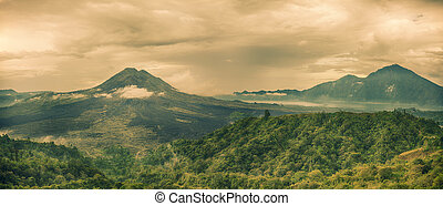 Volcano Batur - View of the lake and violcano Batur. Bali