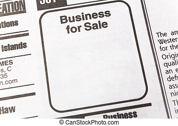 Business for Sale, newspaper Sales ad,  Business concept