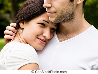 Young couple in love together - Romantic moments - young...