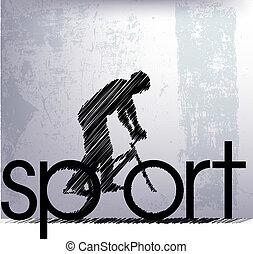 Extracto, Bosquejo, Biker, vector, Ilustración
