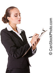 Serious auditor with document - Serious business woman with...
