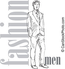 Sketch of fashion handsome man Vector illustration