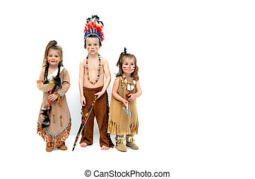Be Thankful - Three little indians, dressed in costumes and...