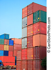 Stack of Cargo Containers in an intermodal yard - Stack of...