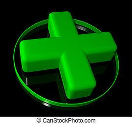 farmacia, verde, croce, segno