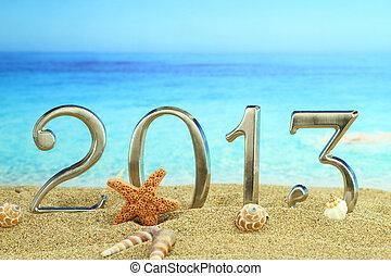 nouveau, année, 2013, plage
