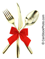 Christmas cutlery Spoon, fork and knife stacked up on white...