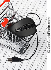 computer mouse  in  shopping trolley