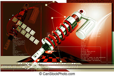 Shock Absorber - Digital illustration of Shock absorber in...