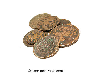 age-old coins - group of age-old coins on a white background