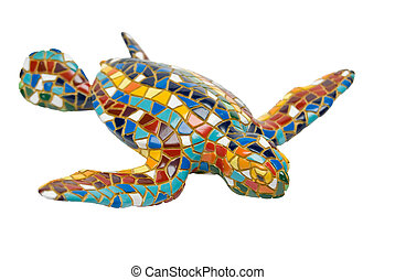 varicolored tortoise - varicolored ceramic tortoise on a...