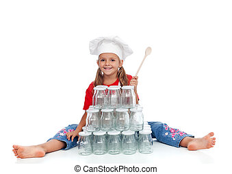 Little chef girl ready for the autumn canning - Little happy...