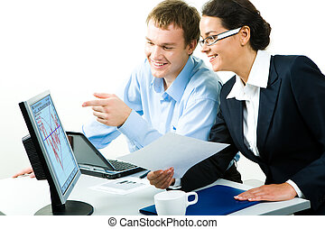 Necessary computer work - Portrait of business woman and man...