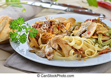 Pasta with mushrooms - Tagliatelle with boletus and bacon...
