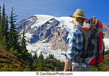 Breathtaking view - Hiker absorbing the magnificent view of...
