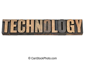 technology word in wood type