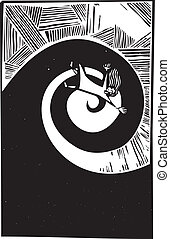Falling into Spiral - Woman falling into a spiral in woodcut...