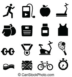 Fitness, health and diet icons - Fitness, health and diet...
