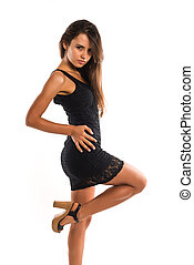 Romanian - Beautiful slender Romanian woman in a short black...