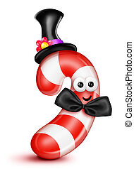 Whimsical Cartoon Candy Cane in Top Hat and Bow Tie