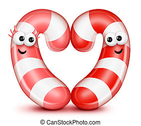 Whimsical Cartoon Candy Cane Heart