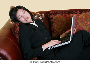 sleeping while working at home based business - young...