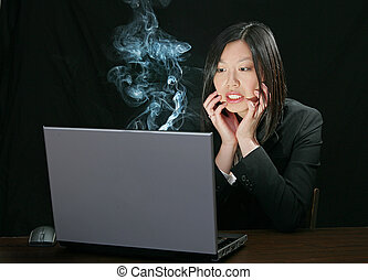 computer trouble for asian girl - young attractive asian...