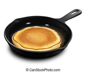 Illustrated Pancake in Frying Pan