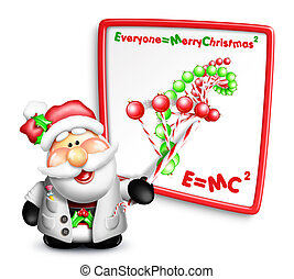 Whimsical Cartoon Santa Scientist with DNA Strand