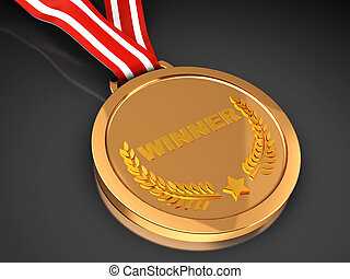 Winner - 3d of winner trophy - golden champion  medal