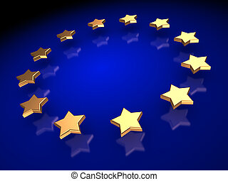 Ranking: group of golden stars on a blue background