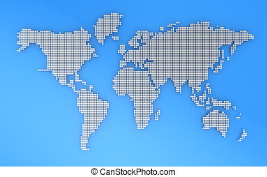 Geography map - Blue and grey geography map, 3d illustration