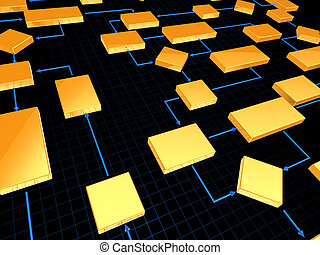 Business strategy - Business modern scheme of yellow blocks,...