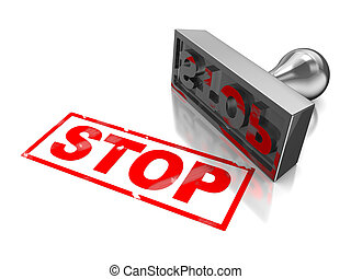 Stop stamp with red text isolated on a white background