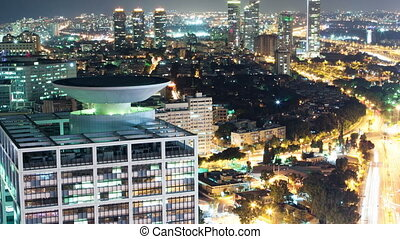 Tel Aviv at Night Aerial View - Tel Aviv Skyline At Night -...