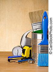 set of tools on wood