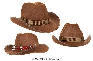 vaquero, sombrero, aislado, blanco