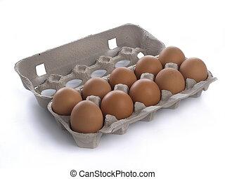 Eggs - Ten eggs in carton box on white background