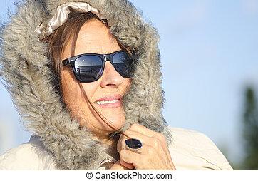 Winter Portrait senior woman - Pretty looking senior woman...